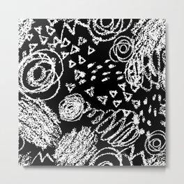 Abstract Chalk on black Metal Print