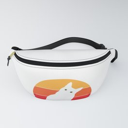 Vintage Retro 80s Curious Cute Cat on Sunset Looking Funny design Fanny Pack