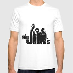 THE BIG JIM'S White Mens Fitted Tee MEDIUM