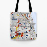 chicago map Tote Bags featuring Chicago by Mondrian Maps