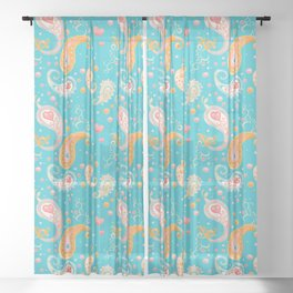 Paisley Hearts Turquoise Sheer Curtain