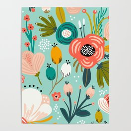 Mid-Century Modern Floral Print With Trendy Leaves Poster