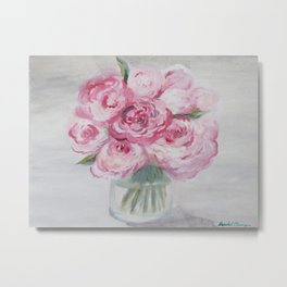 """""""Popping Peonies"""" Gouache Floral Painting Metal Print"""
