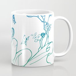 The Masked Fairy - greenish blue version - A masked fairy girl surrounded by butterflies and roses Coffee Mug