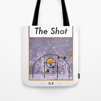 lakers Tote Bags featuring The Shot Series, Derek Fisher by Dyllin Shane