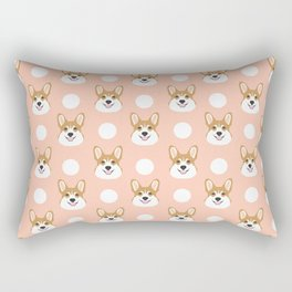 Corgi polka dots peach blush pastel pink coral welsh corgi iphone case for dog lover gifts for dogs Rectangular Pillow