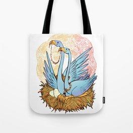 Blue Flamingos Nest Tote Bag