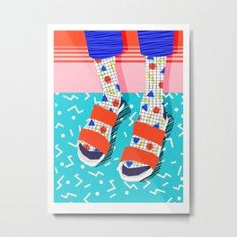 No Doi - memphis throwback retro classic style fashion 1980s 80s hipster shoes socks urban trendy Metal Print