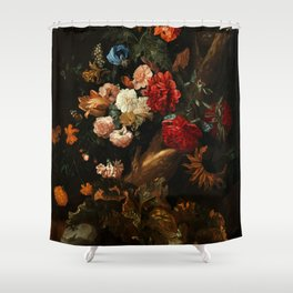 """Ernst Stuven """"Floral still life with Yellow-Bellied Toad and snake"""" Shower Curtain"""