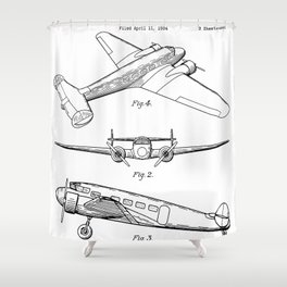 Lockheed Airplane Patent - Electra Aeroplane Art - Black And White Shower Curtain