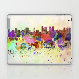 Tel Aviv skyline in watercolor background Laptop & iPad Skin