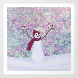 snowman and chickadees Art Print