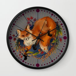 Sly Fox Spirit Animal Wall Clock