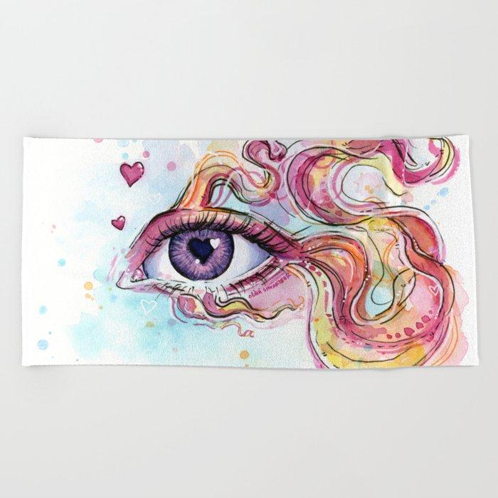 Eye Betta Fish Surreal Animal Hearts Watercolor Beach Towel