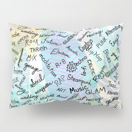 Colourful Music Categories Handwriting Pillow Sham