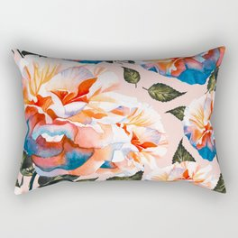 Big flowers blue & orange Rectangular Pillow