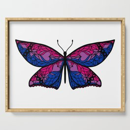 Fly With Pride: Bisexual Flag Butterfly Serving Tray