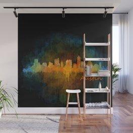 Austin Texas, City Skyline, watercolor  Cityscape Hq v4 Dark Wall Mural