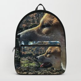 Shiba Inu profile in the woods Backpack