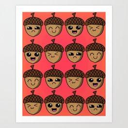 Adorable Acorns Art Print