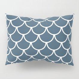 Dusky Blue Fish Scales Pattern Pillow Sham