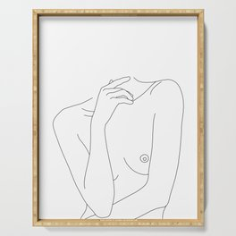 Woman's body line drawing - Cecily Serving Tray