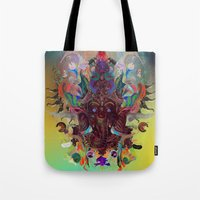ganesha Tote Bags featuring Ganesha by Archan Nair