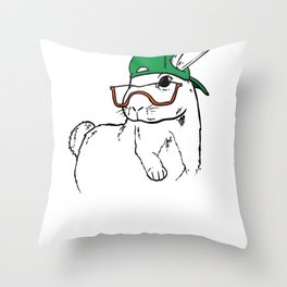 Rabbit Clipart Rabbit Line Art Bunny Wearing Glasses and Green Hat Throw Pillow