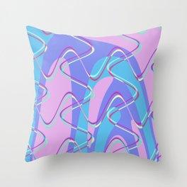 Nouveau Retro Graphic Pink Blue Purple Throw Pillow