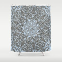 Light Blue Center Swirl Mandala Shower Curtain
