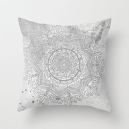 gray splash mandala swirl boho Throw Pillow