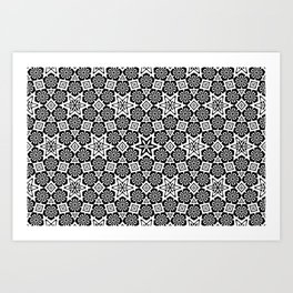 Polygon Flowers - Color: Black&White Art Print
