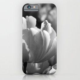 Field of Tulips | Black & White iPhone Case