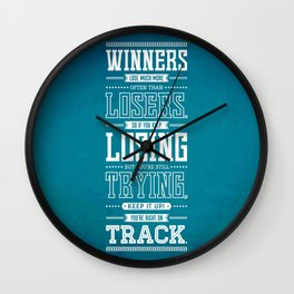 Lab No. 4 Winners Lose Much More Matthew Keith Groves Motivational Quote Wall Clock