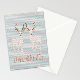 Love and Peace Knitting Deer Winter Christmas Art Stationery Cards