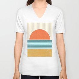 Sun Beach Stripes - Mid Century Modern Abstract Unisex V-Neck