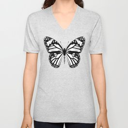 Monarch Butterfly | Vintage Butterfly | Black and White | Unisex V-Neck