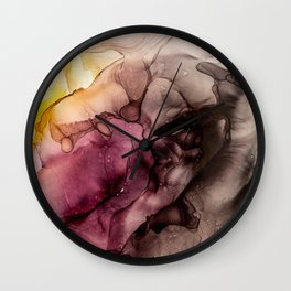 Abstract Alcohol Ink Art - Sun above the mountains Wall Clock
