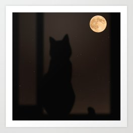 Staring At The Moon by Omerika Art Print