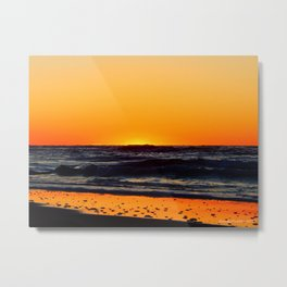 Orange Sunset on the Beach Metal Print