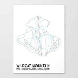 Wildcat Mountain, NH - Minimalist Trail Art Canvas Print