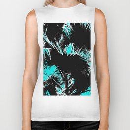 palm leaf abstract with blue background Biker Tank