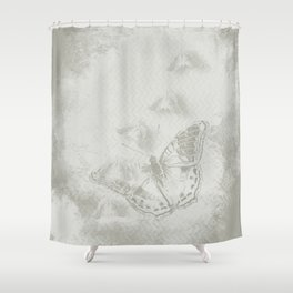 delicate butterflies and textured chevron pattern Shower Curtain