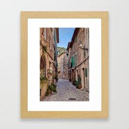 Narrow street in Valldemossa village - Mallorca, Spain Framed Art Print