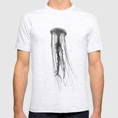Jellyfish Silhouette Ash Grey Mens Fitted Tee MEDIUM