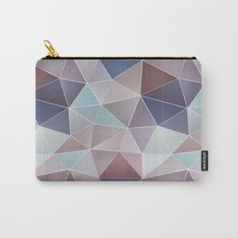 Abstract geometric polygon in gray, blue, brown tones. Carry-All Pouch
