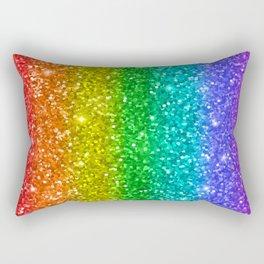 Glittery Rainbow Rectangular Pillow