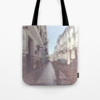 madrid Tote Bags featuring Madrid, Spain by Jane Lacey Smith