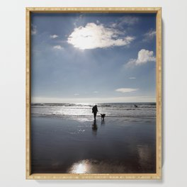 Sunburst over a winter Caswell beach, Gower, Swansea Serving Tray