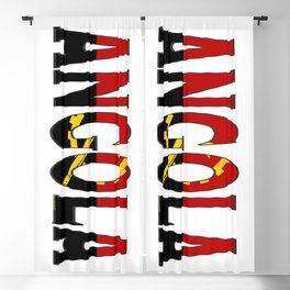Angola Font with Angolan Flag Blackout Curtain